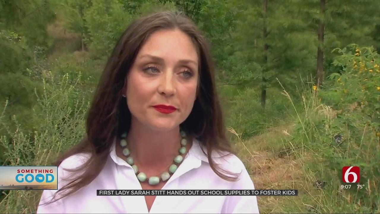 First Lady Sarah Stitt Hands Out School Supplies To Foster Kids In Tulsa