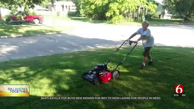 Bartlesville FOP Buys New Mower For 11-Year-Old Boy Mowing For Those In Need