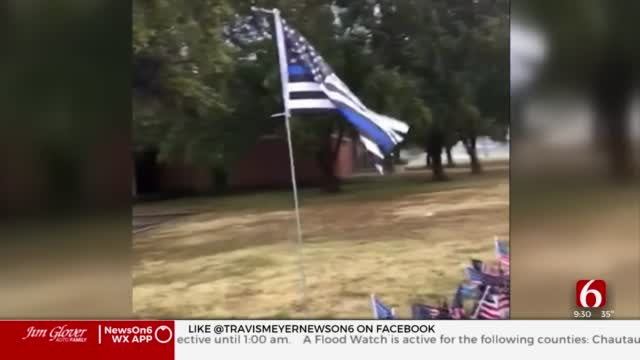 New Flag Donated To Vandalized Memorial For Sgt. Craig Johnson