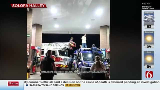 Tulsa Police: Man Jumps Onto Ambulance, May Have Taken Bath Salts