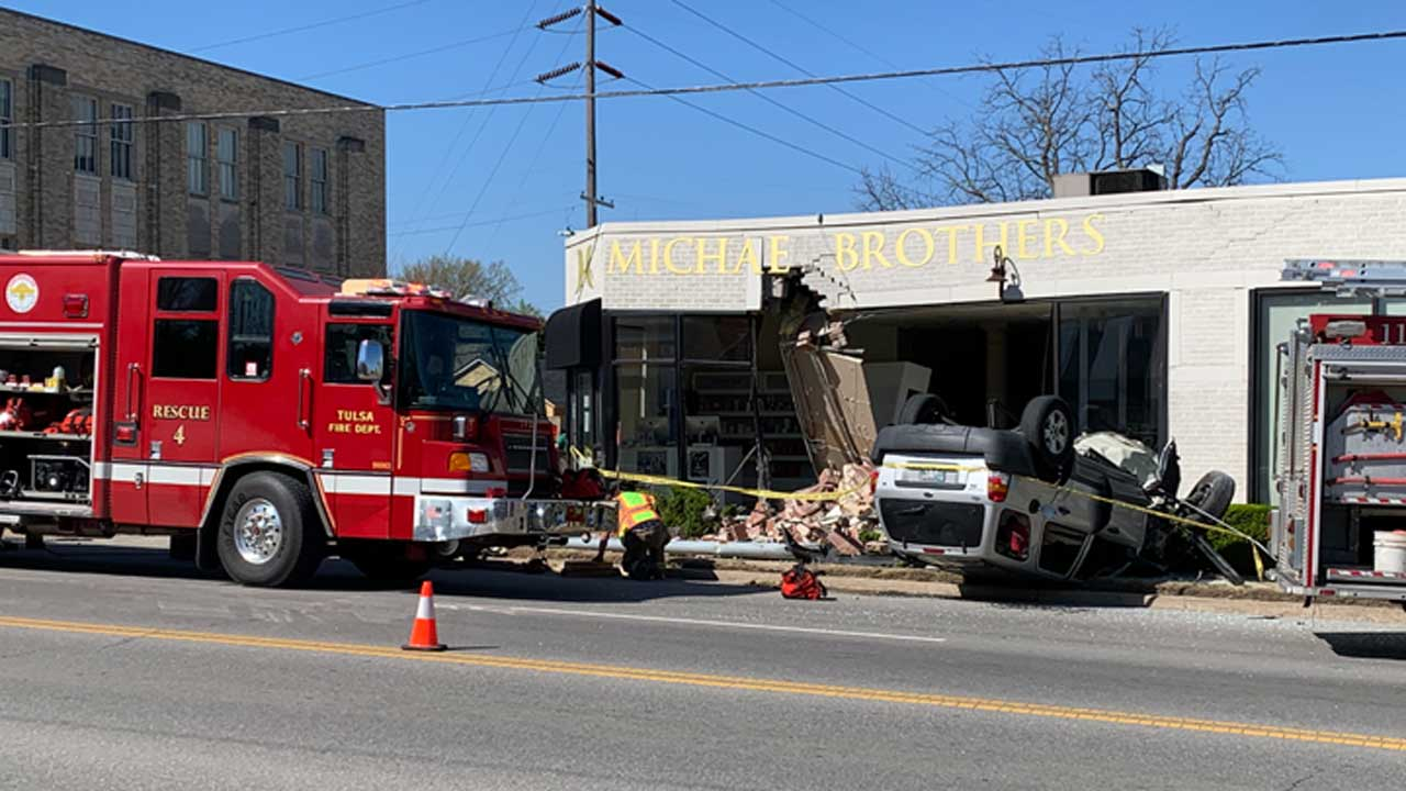 2 Recovering After Car Flips, Crashes Into Tulsa Business
