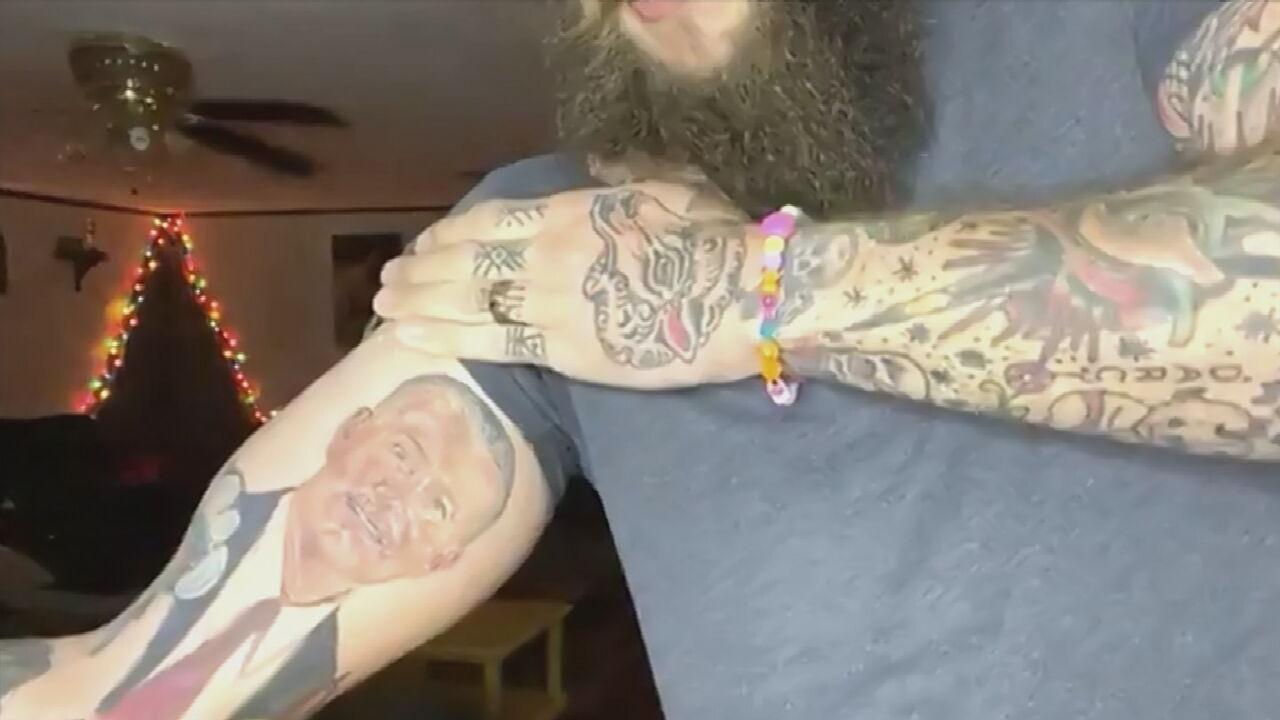 Watch: Oklahoman Shows Off Travis Meyer Tattoo