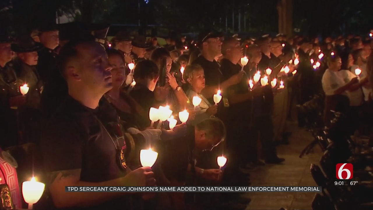 Fallen Tulsa Police Sgt. Johnson Honored In Washington DC With Candlelight Vigil