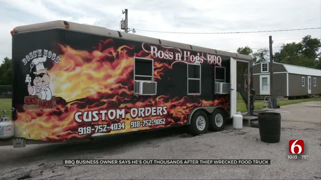 BBQ Business Owner Said He's Out Thousands After Thief Wrecked Food Truck