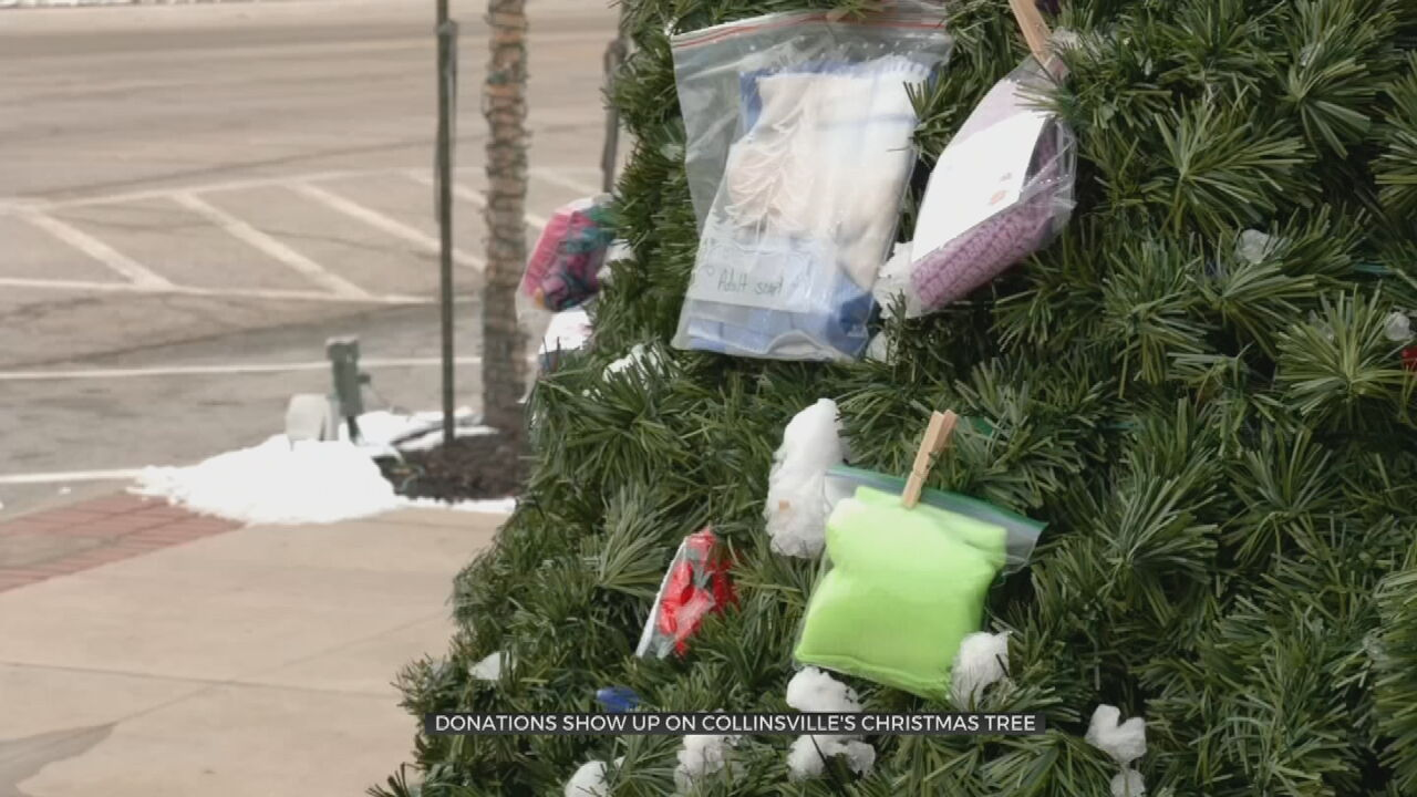 Warm Clothing Items Anonymously Pinned To City Christmas Tree In Collinsville