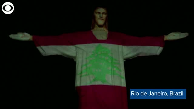 Watch: The Lebanese Flag Projected On Christ the Redeemer Statue TO Honor Beirut Victims