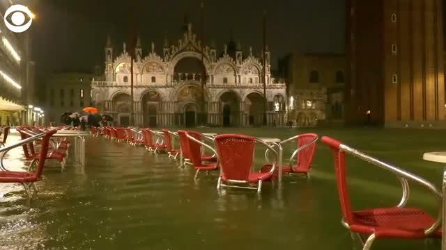 Watch: Near-Record High Tides Flood Venice