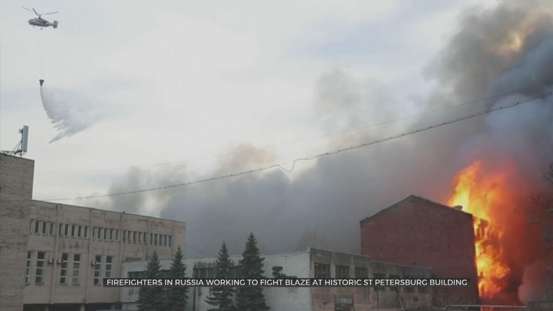 Firefighter Killed In Blaze In Russian City Of Saint Petersburg