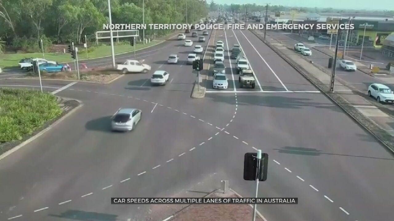 Caught On Camera: Car Speeds Across Multiple Lanes Of Traffic In Australia