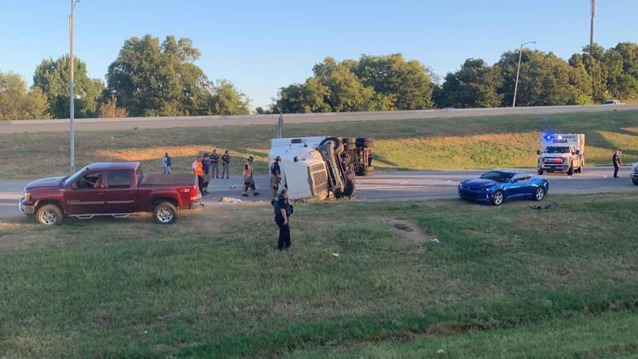 Emergency Crews Respond To Rollover Crash Involving Semi