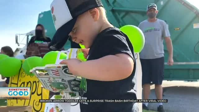 Northeastern Oklahoma Toddler Get Special Surprise at Birthday 'Trash Bash'