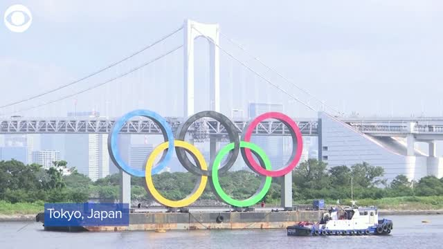 Watch: Olympic Rings Monument Temporarily Removed From Tokyo Bay