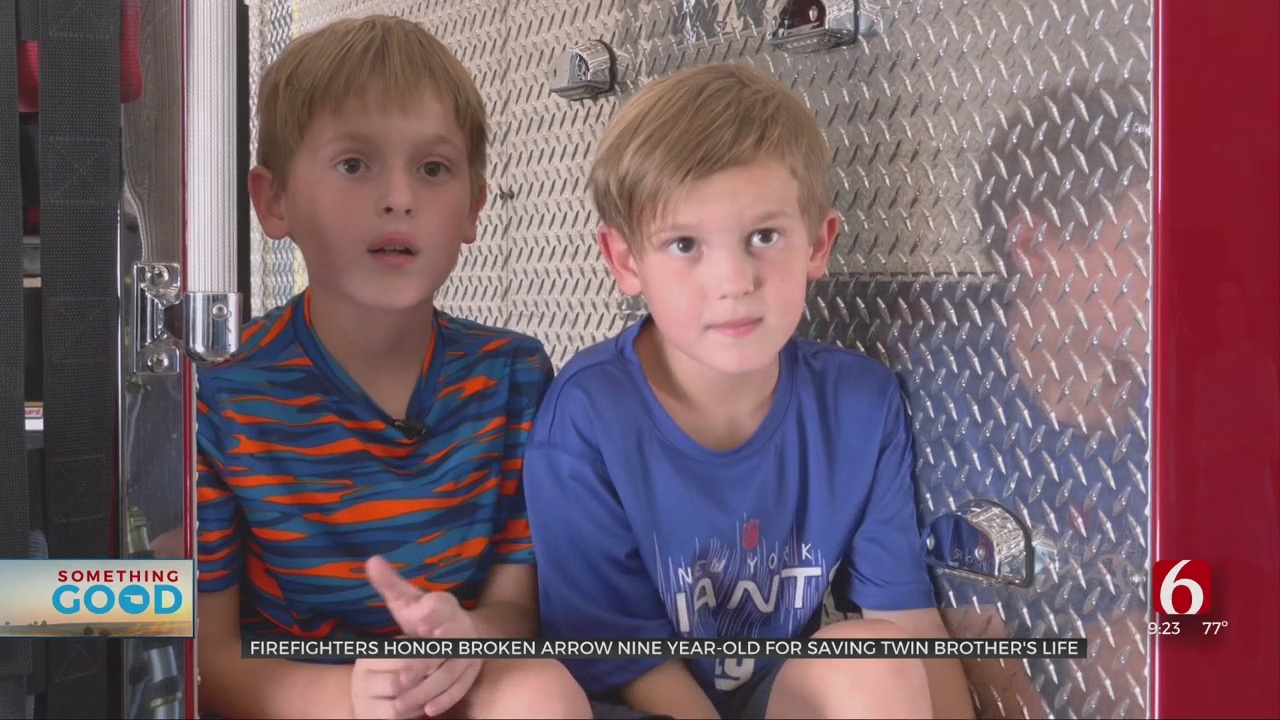9-Year-Old Honored By Broken Arrow Fire Department For Saving Twin Brother's Life