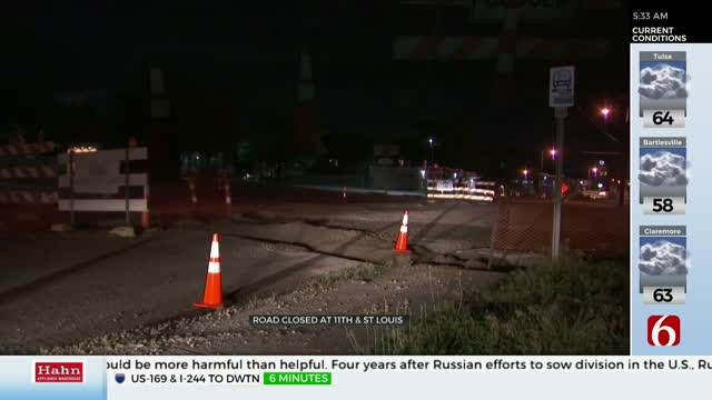 Lanes Closed On 11th Street After Heavy Rains Impact Construction Zone