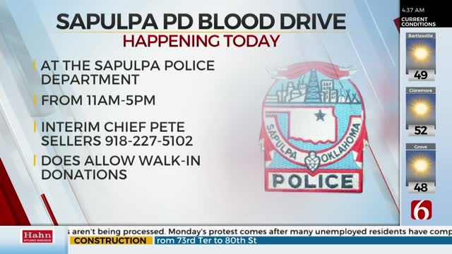 Sapulpa Police Department Holding Blood Drive Tuesday