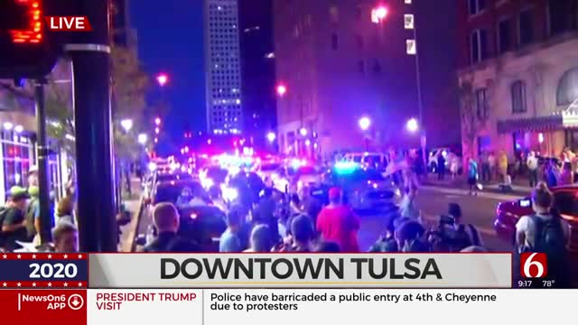 More Officers Arrive To Downtown Tulsa As Number Of Protesters Grows