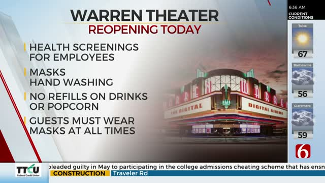 Broken Arrow's Warren Theater Reopens After Closing Due To COVID-19 Pandemic