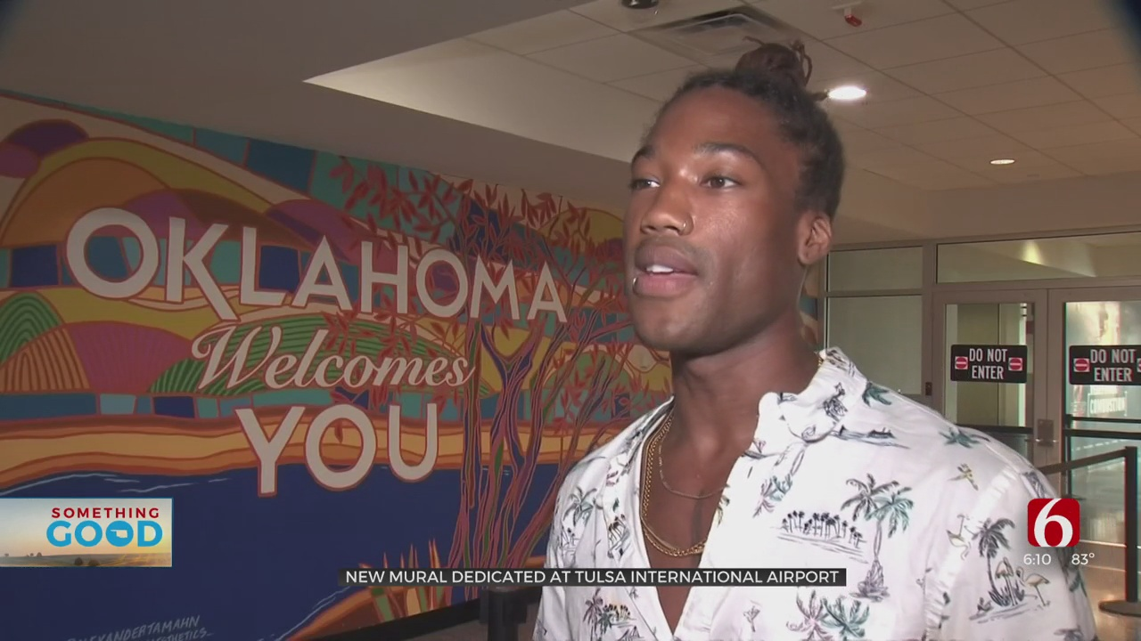 Tulsa International Airport Unveils New Mural, Offering Colorful Welcome To City