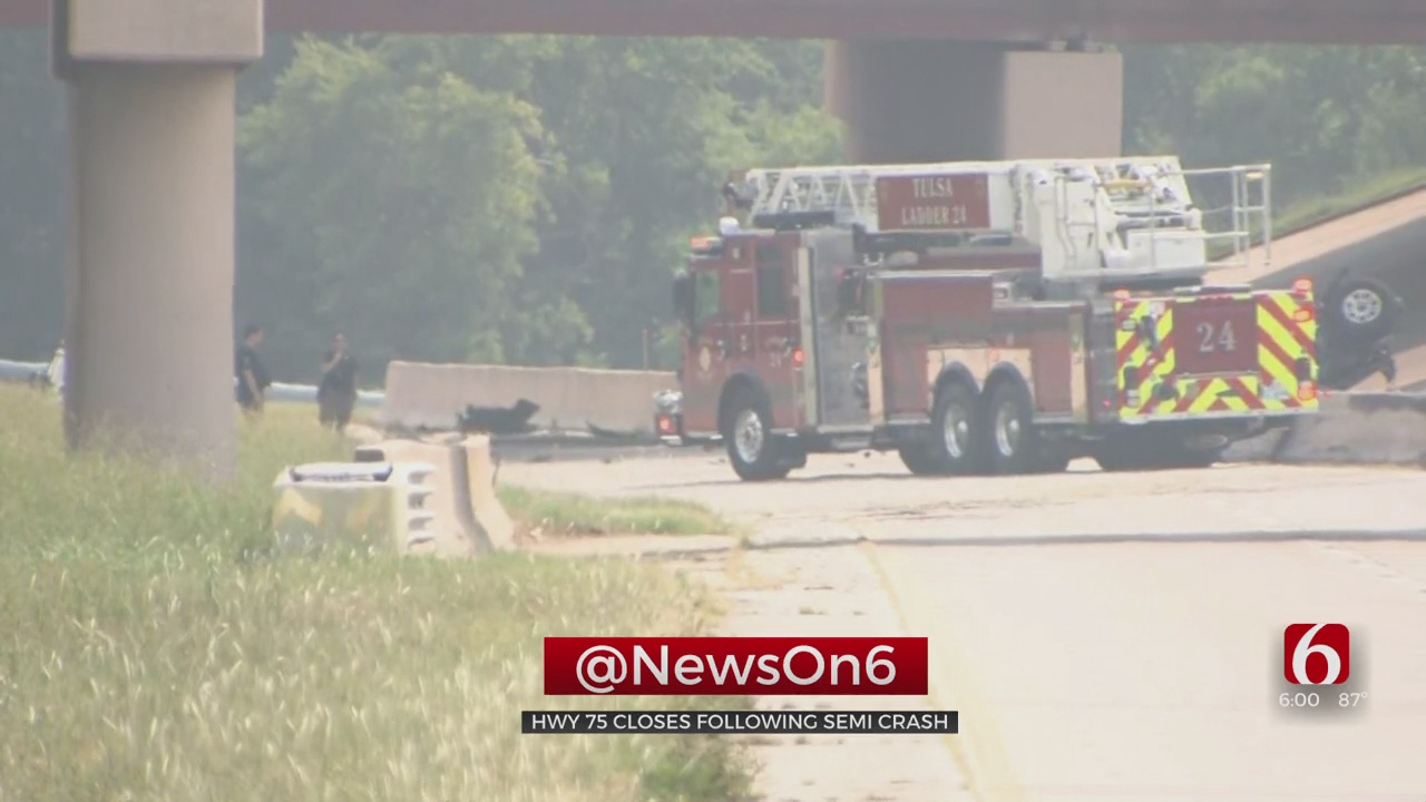 Highway 75 Closed After Accident Involving Semi In Tulsa