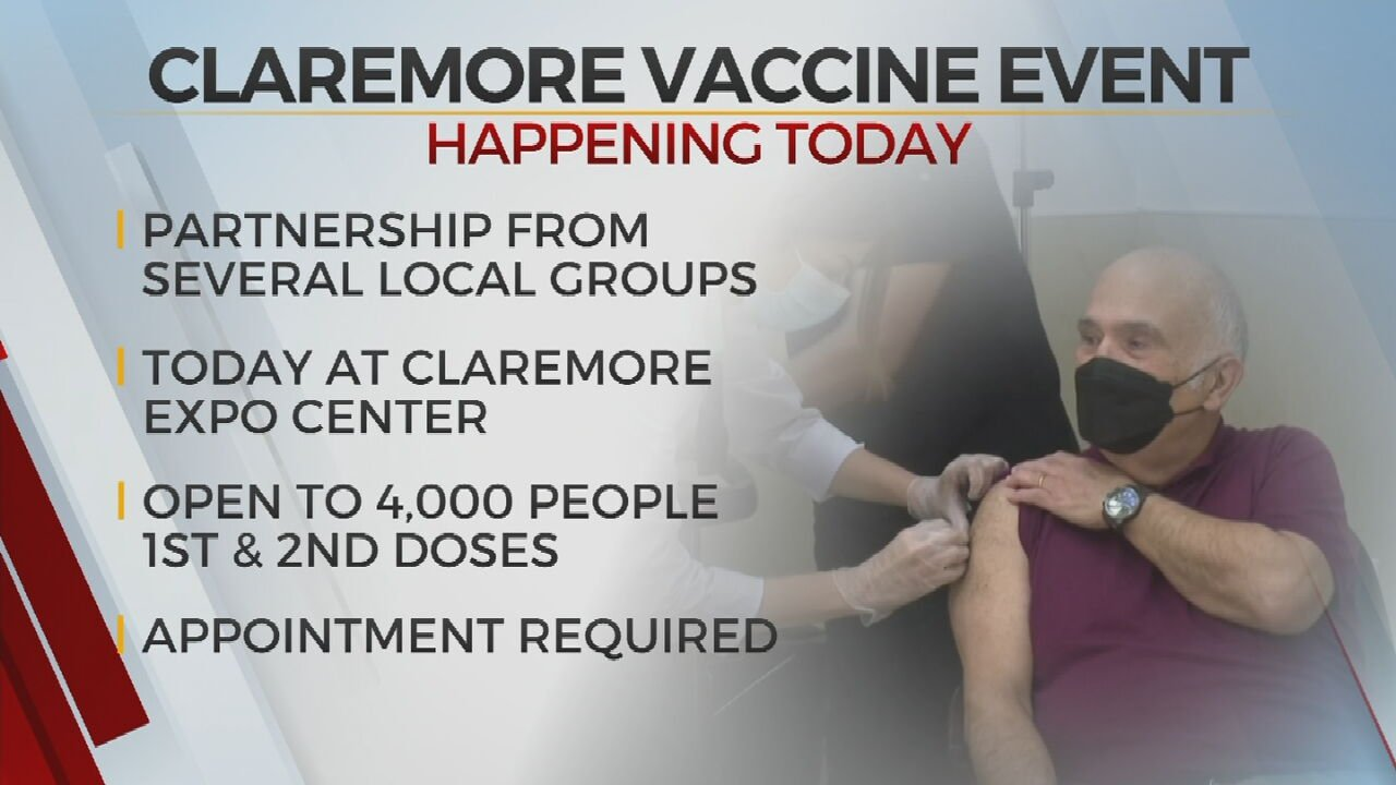 4,000 COVID-19 Vaccine Doses To Be Administered At Claremore Mass Vaccination Event