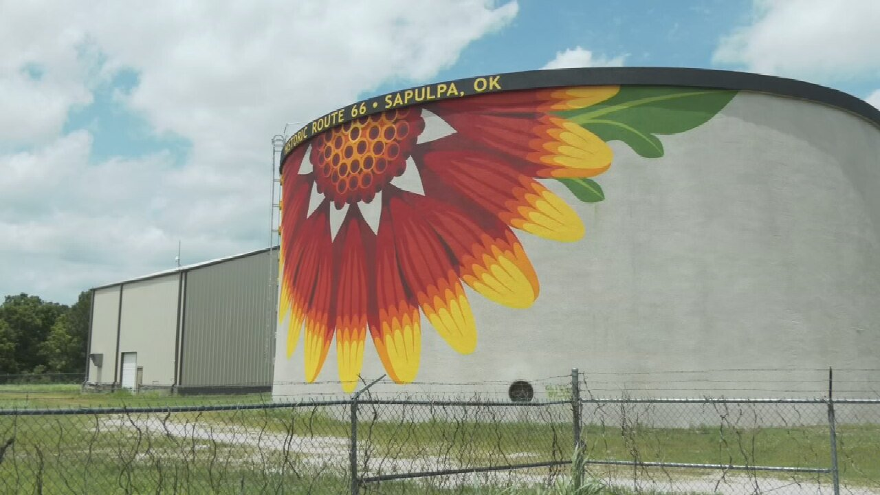 City Of Sapulpa Adds Beautiful New Mural To Route 66 Water Tower