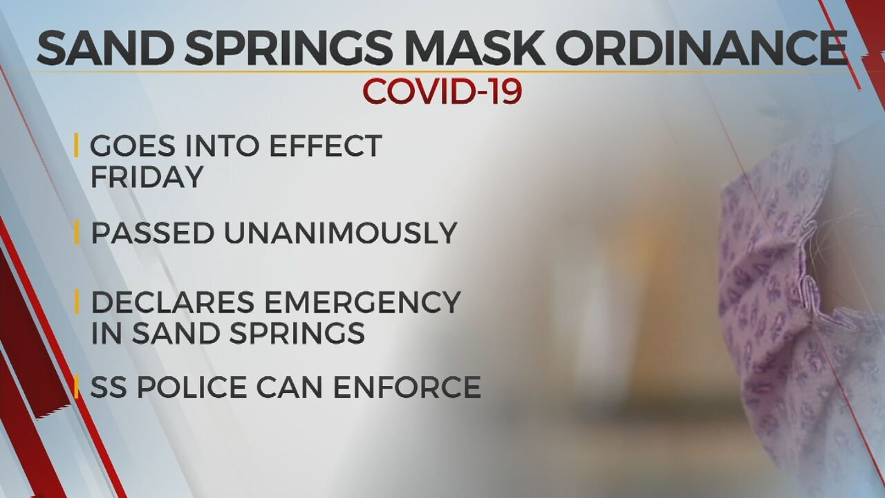 Sand Springs Passes Mask Ordinance, Goes Into Effect Friday