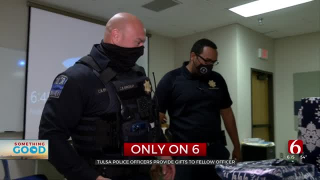 Tulsa Police Surprise Fellow Officer With $1,500 In Gifts For His Family