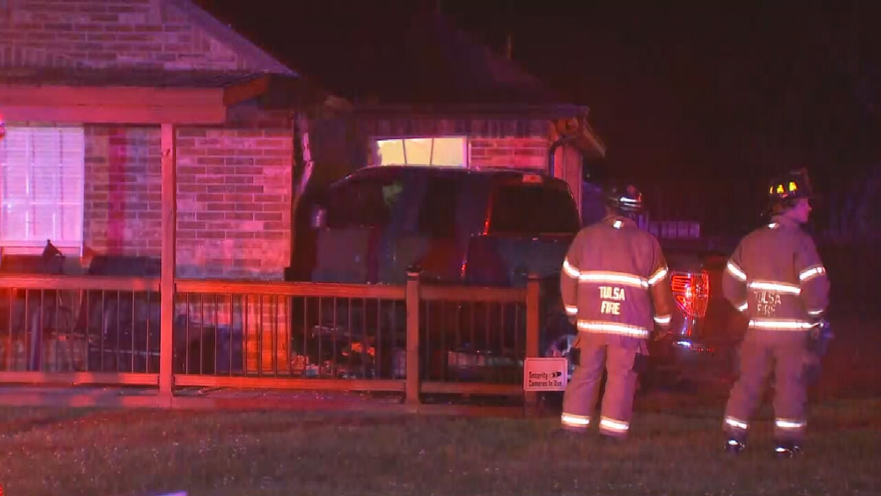 Tulsa Police Respond After Pickup Truck Crashes Into Home