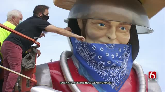 Buck Atom Dons Giant Mask After Tulsa Mask Ordinance Passes