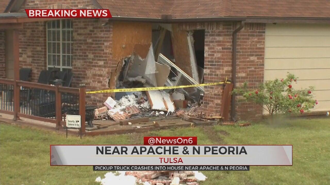 Tulsa Police: Man In Custody After Crashing Pickup Truck Into Tulsa Home