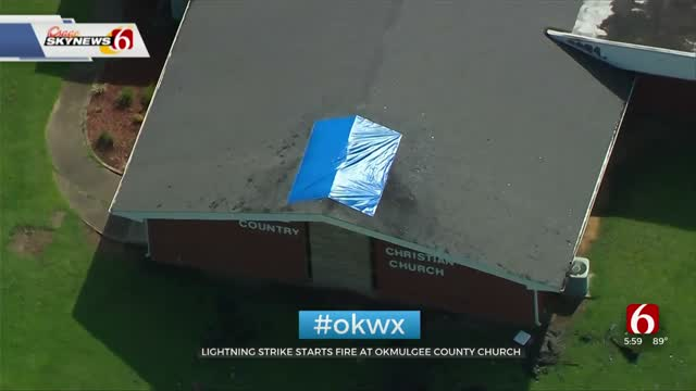 Okmulgee Church Steeple Struck By Lightning