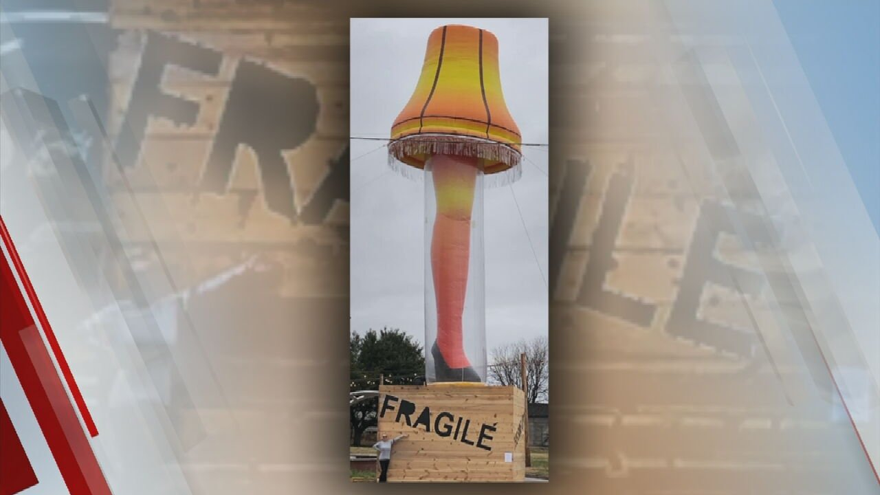 City Of Chickasha Displays Giant Inflatable Leg Lamp In Honor Of Late City Native