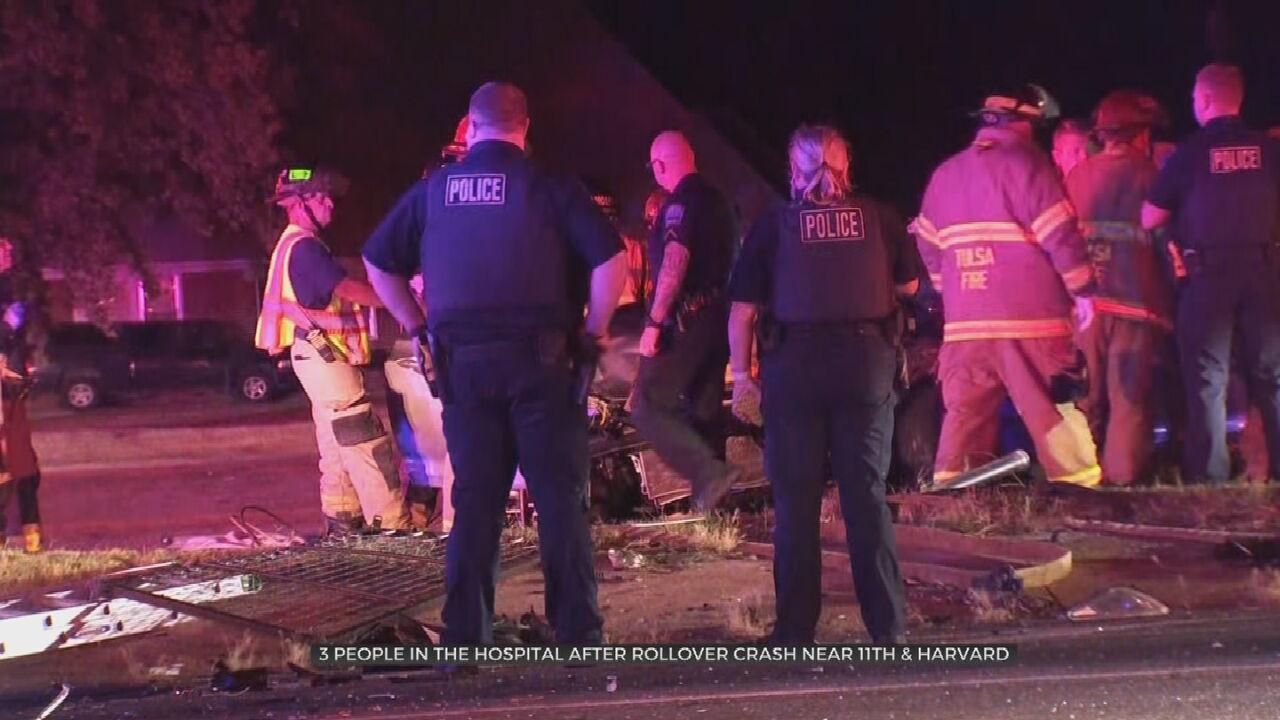 Early Morning Rollover Crash Hospitalizes 3