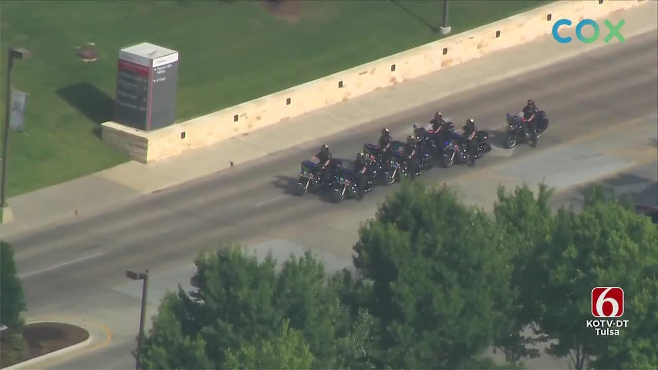 Tulsa Police Escort Sgt. Craig Johnson's Body To OSU Medical