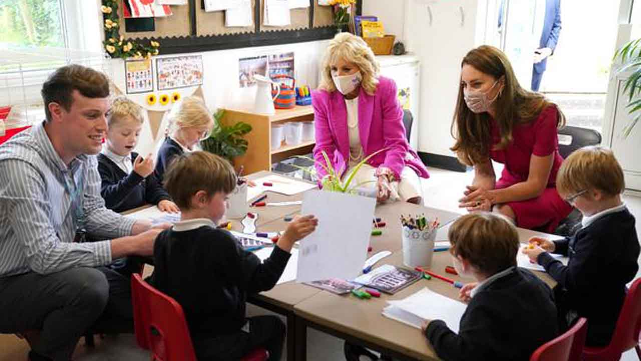 Jill Biden, Kate Middleton Meet For The First Time To Visit A School, Feed Rabbits