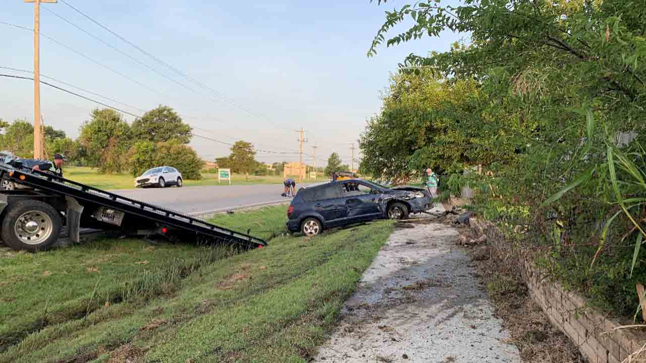 Tulsa Police Respond After Driver Crashes Into Fence