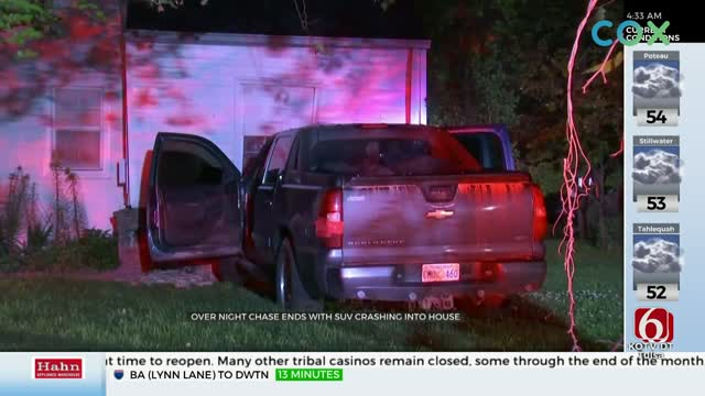 Truck Crashes Into Tulsa House After Police Chase