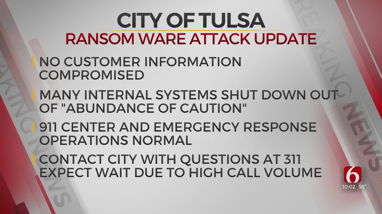 City Of Tulsa Provides Update On Weekend Ransomware Attack