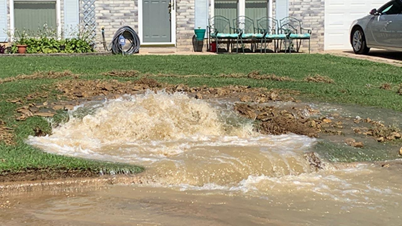 Water Line Break Erupts In Front Yard Of Tulsa Home