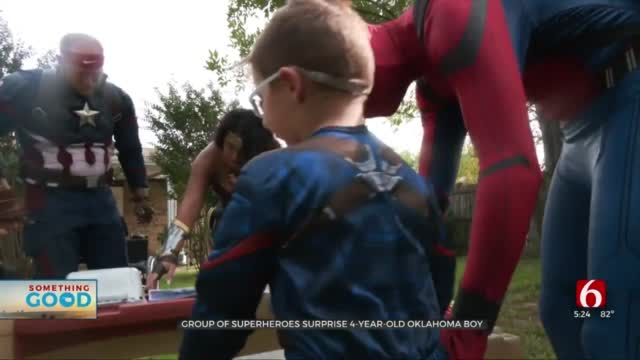 4-Year-Old Oklahoma Boy Surprised By Superheroes At His Front Door