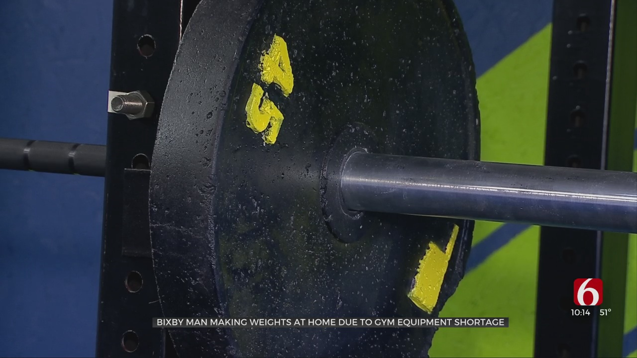 Bixby Man Builds Concrete Weights for Home Gym
