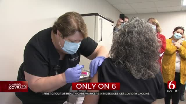 Healthcare Workers 'Hopeful' After First Group In Muskogee Receives COVID-19 Vaccine