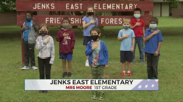 Daily Pledge: Mrs. Moore's 1st Grade Class  From Jenks East Elementary