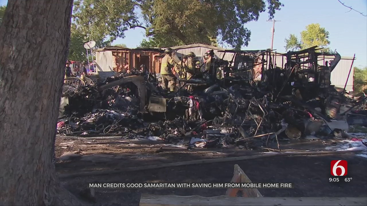 Man Credits Passerby With Saving Him From Mobile Home Fire
