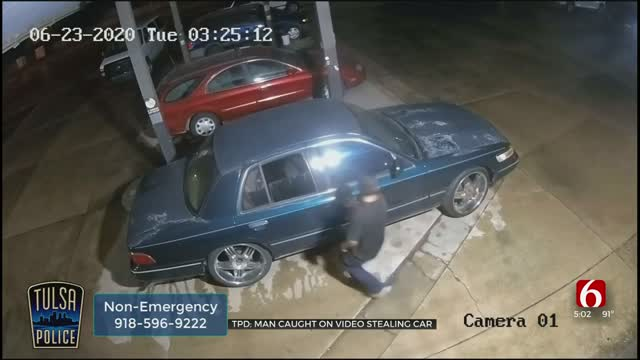 WATCH: Video Shows Man Steal Vehicle In Tulsa