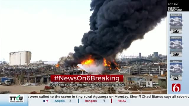 Large Fire Burning At Port Of Beirut 1 Month After Deadly Explosion