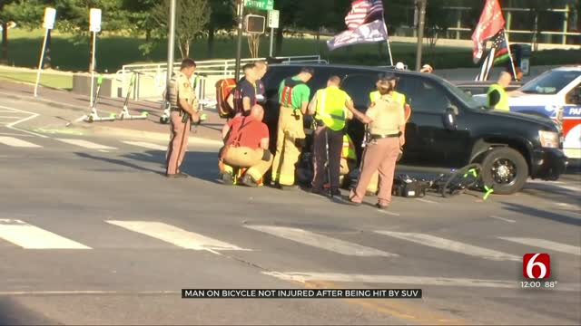 Update: Cyclist OK After Being Hit By Deputy's SUV Near BOK Center
