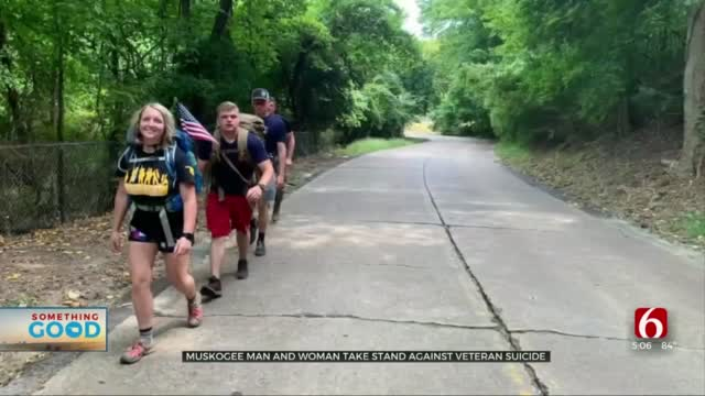 Muskogee Man, Woman Hike 200 Miles To Take Stand Against Veteran Suicide