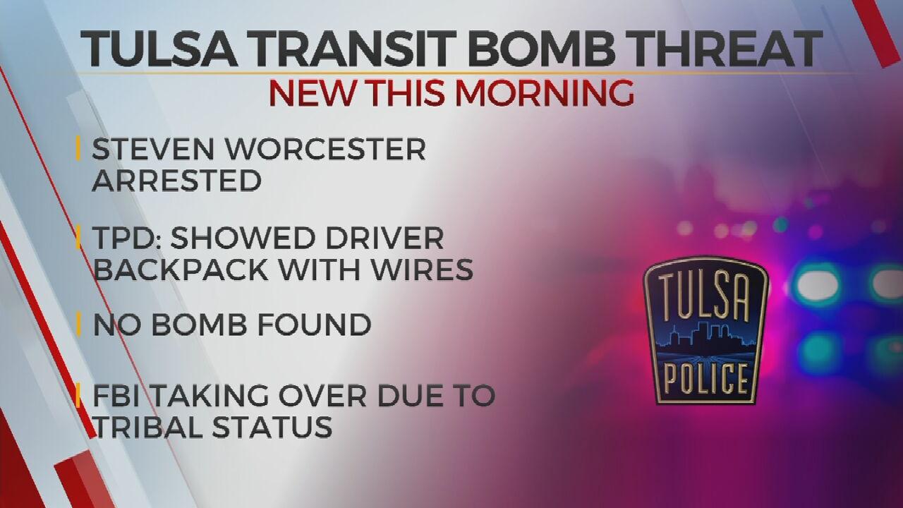Tulsa Police: Man In Custody After Threatening To Blow Up Tulsa Transit Bus