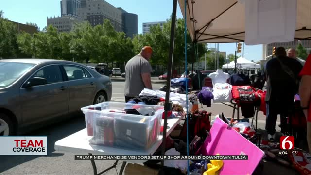Vendors Set Up Downtown Ahead Of President Trump's Rally